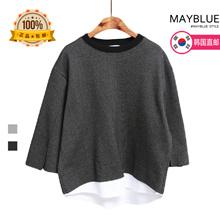 [mayblue]★送料無料★♥韓国ECサイト大ヒット!商品♥♥Limited Item♥♥スリーブスリットドッキングラウンドネックTシャツ