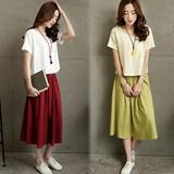 复古连衣裙夏季女装新 两件套淑女短袖棉麻小衫长裙  8096#