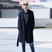 Amii[极简主义]2016冬新款羊毛修身毛呢外套大衣女中长款11622303(10月30日闪电发货)