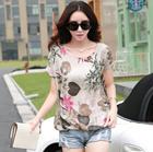 女装上衣短袖T恤女2015夏装新款韩版碎花宽松小衫亚麻T恤大码