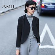 Amii[极简主义]2016秋女新通勤纯色圆摆长袖V领西装外套11683497