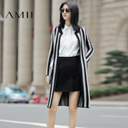 Amii[极简主义]秋季棒球领显瘦中长竖条纹开衫毛衣外套女11692048