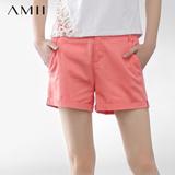 AMII极简 时尚百搭休闲短裤纯棉短裤5色 大码女装 11240291