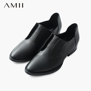 Amii[极简主义]2015秋冬新欧美复古帅气尖头粗跟牛皮女鞋11582253