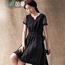 茵曼2015夏季短裙夏装新款文艺单件印花纯色女连衣裙V8521020678