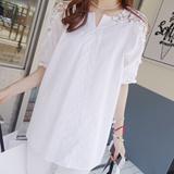性感衬衫百搭衬衫女士长袖韩版纯棉衬衣纯白