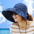 暑假出游套装 防紫外线系列女士遮阳帽夏天韩版防紫外线大沿可折叠凉帽沙滩太阳帽防晒帽子丝袜丝巾太阳眼镜