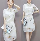 欧洲站2015夏季新款女装 韩版雪纺印花显瘦高腰连衣裙衬衫裙子