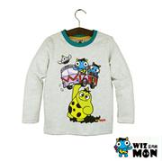 韩国品牌童装纯棉卡通蓝角兽家族图案男童长袖T恤现货WMAT101