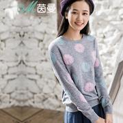 茵曼冬装新款纯羊绒衫套头山羊绒衫女士毛衣8542700588