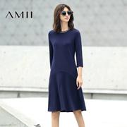 Amii[极简主义]2016秋新撞色螺纹拼接大码修身A字连衣裙11671835