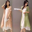 夏长裙棉麻连衣裙文艺复古两件套套装女夏气质休闲亚麻套装 6816#