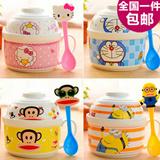 日式创意卡通陶瓷泡面碗泡面杯餐具套装可爱方便面碗汤碗大号带盖