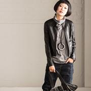 W8289A 韩版帅气显瘦立领夹克短款PU小外套女【米可可】