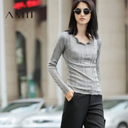 Amii[极简主义] 2016秋季新品开衩领口卷边坑纹大码毛衣11671790