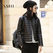 Amii[极简主义]2016冬装大码休闲两面穿修身轻薄印花羽绒服女短款21653327