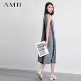 AMII及简2015夏新品轻运动休闲撞色织带拼接大码连衣裙11580304
