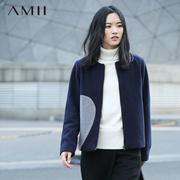 Amii[极简主义]2015冬圆领撞色心形拉链修身大码毛呢外套11582213