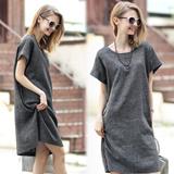 夏装新款欧美短袖亚麻大码女装连衣裙显瘦棉麻修身裙子  3032#