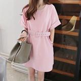夏季新款韩版文艺棉麻圆领短袖宽松连衣裙  8090
