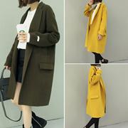 秋季新款时尚韩版气质纯手工双面绒羊绒大衣毛呢子中长款外套女潮