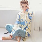 春秋季女士睡衣女春秋夏款纯棉长袖卡通可爱加大码全棉家居服套装