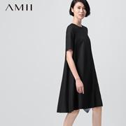 AMII【极简主义】2015秋女纯色圆领宽松大码优雅A字廓形感连衣裙11570951