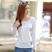 秋装纯棉长袖袖t恤女士韩版圆领新款长袖女装大码T恤修身白色小衫