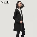 【限量抢购】AMII极简 通勤简约不规则斜开拉链长款风衣外套女11300527