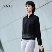 Amii[极简主义]2016秋女新品直筒创意拼接假两件大码卫衣11672902