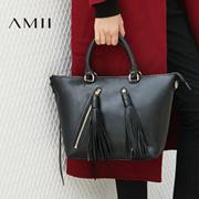 Amii[极简主义]2016秋冬新品流苏羊皮拉链手袋手提皮包女11693592