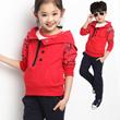 LS 秋款童装 女童2014潮新款 男童装卫衣套装 儿童衣服运动套装