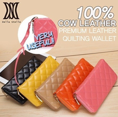 [Indonesia] [DELLA STELLA] Quilting Wallet!! HOT ITEM!/Stylish and exquisite wallet cowhide long purse/handbag with lattice patterns DLAG12
