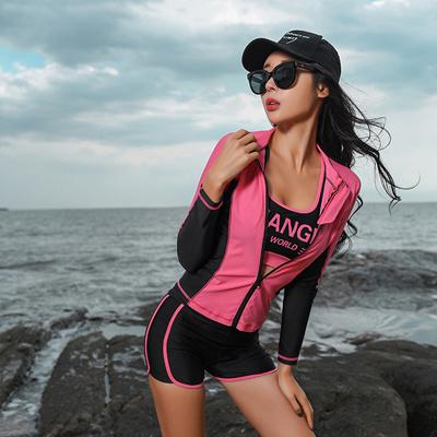 韩版女长袖游泳衣防晒分体速干水母衣浮潜服套装