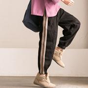 N1187B 韩版侧拼条撞色显瘦宽松微弹加厚灯笼牛仔裤女【米可可】