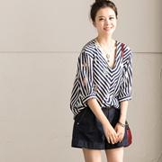 C771A 甜美清新宽松百搭V领竖条纹五分袖印花衬衫女 米可可