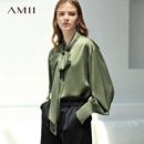 Amii极简欧美范设计chic风衬衫女2018秋新公主袖领带通勤上衣