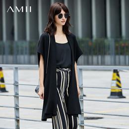 Amii[极简主义]纯色毛衣外套女2017秋装新款针织长开衫宽松斗篷