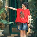 米可可 T1986 文艺百搭贴布纯棉宽松卷边休闲大红色T恤女2019夏