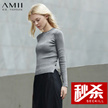 Amii[极简主义] 新修身细针织套头长袖大码毛衣女11671781