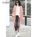 Amii极简街头chic设计感毛衣外套女2018秋季宽松织花磨烂开衫