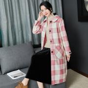 双面呢格子大衣中长款2018春秋韩版新款宽松大码羊毛呢外套女