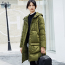 Amii[极简主义]90白鸭绒羽绒服女2017冬季新连帽拉链插袋直筒外套