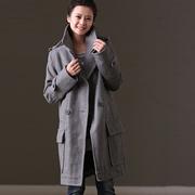米可可  W335 文艺通勤大码西装领双排扣中长款毛呢大衣女 新春