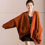 W3619A 韩范大版席纹花编织落肩蝙蝠袖毛衣开衫外套女秋 米可可