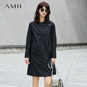 Amii[极简主义]2017秋装新款简洁翻领趣味绣花棉质连衣裙11744110