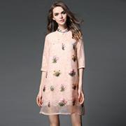 2017夏装新款欧美女装欧根纱刺绣旗袍立领宽松大码A字蕾丝连衣裙