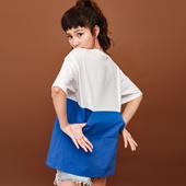 七格格 2017夏季新款 蓝白拼接后口袋宽松落肩中长字母T恤 女M194