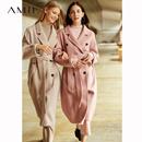 Amii极简赫本风复古全羊毛双面呢女2018秋季新双排扣绑带宽松外套