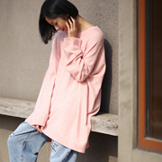 米可可  M0110文艺大码慵懒螺纹落肩长袖打底针织毛衣女 18秋新